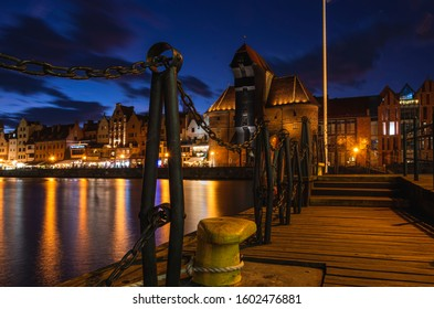 Gdańsk, city by the river, view of the crane, famous monument of the city.