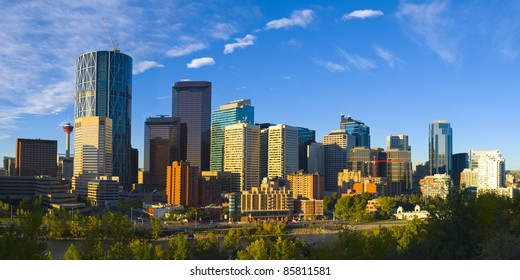 The City of Calgary Skyline with Bow river, Alberta Canada.