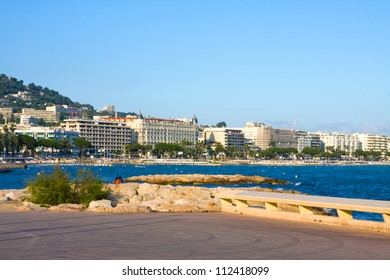 The city of Cannes with its famous croisette and marina,  Azure coast of france