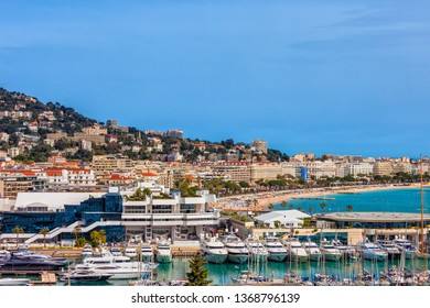 City of Cannes in France, skyline view over Le Vieux Port and Palais des Festivals on French Riviera