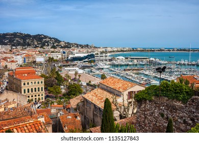 City of Cannes in France, view to Le Vieux Port on French Riviera by the Mediterranean Sea