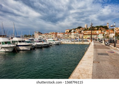 City of Cannes in France, view from Le Vieux Port waterfront to Le Suquet - the Old Town on French Riviera
