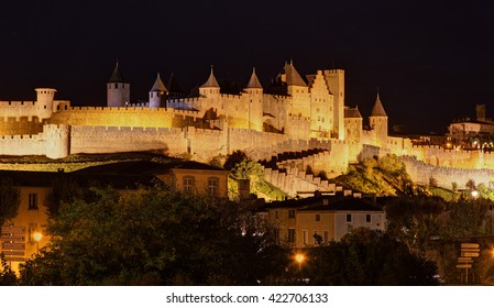 City of Carcassonne by night - Aude (France)