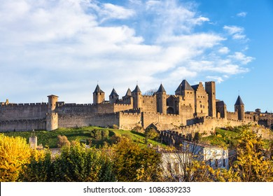 City of Carcassonne seen from the new bridge, Languedoc-Roussillon, Aude, Occitanie, France