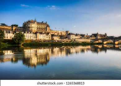 The City and Castle of Amboise by the River Loire, France