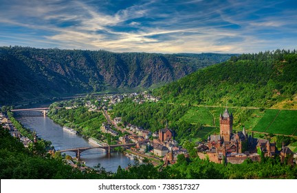 The city and the castle Cochem on the Mosel in Germany