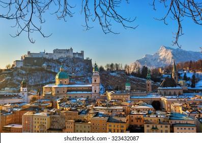 City and castle Hohensalzburg in morning - Salzburg Austria
