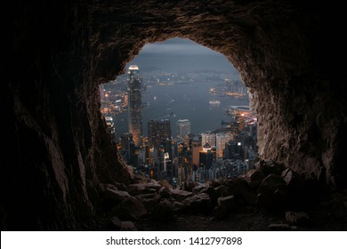 City from cave at night