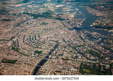 City center of Amsterdam from the sky (aerial photo)