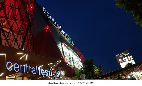 City center biggest shopping complex Central Festival Megamall  evening  twilight hour at Hat Yai, Thailand on June 71, 2018.