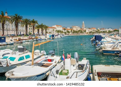 City center, boats and yachts in marina of Split, Croatia, largest city of the region of Dalmatia and popular touristic destination, beautiful seascape