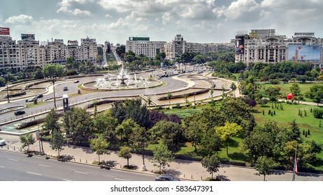 City center of the capital of Romania, Bucharest, seen from above. With beautiful fountains in the middle