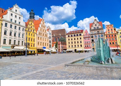 City center and Market Square in Wroclaw, Poland in a summer day