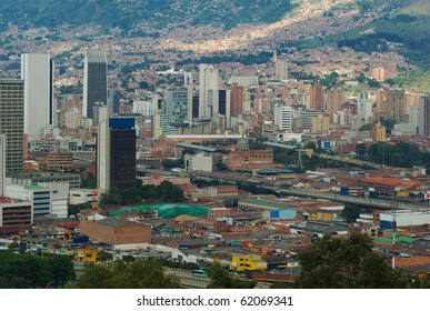 The city center of Medellin, the second biggest city in Colombia, which is the capital of the Department of Antioquia