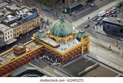 The city center of Melbourne, Victoria, Australia. including  Flinders Street Railway Station.