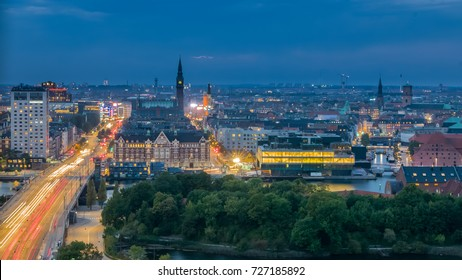 The city center of modern capital, Copenhagen skyline