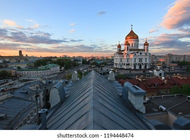 City center of Moscow and the Church at Sunset