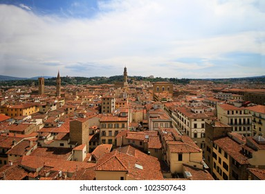 City center panorama, aerila view, Florence, Tuscany, Italy; roofs, buildings and towers.