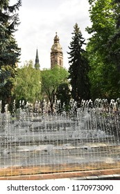 City center of Košice (Slovakia) with big water fountain.