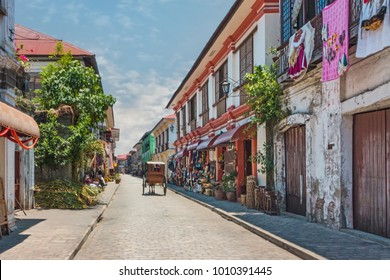 City Center Street Scene in Historic Colonial Town With Horse and Carriage (Vigan, Luzon, Philippines).