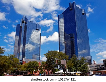 City Center Towers Complex in Fort Worth. D.R Horton Tower and Wells Fargo Tower designed by architect Paul Rudolph, completed in 1984