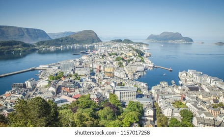 City center view from Aalesund in Norway from the house mountain above the city at nice and sunny weather