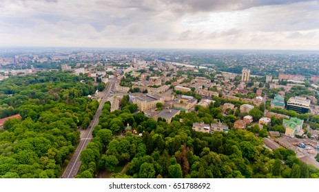 The city center of Vinnytsia, Ukraine. Aerial view.
