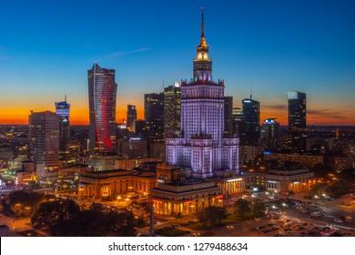 City Center of Warsaw at night, Poland, Europe