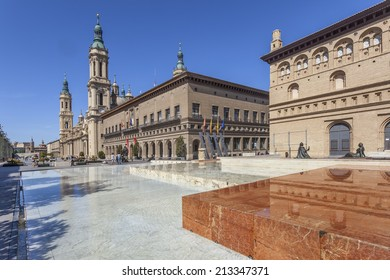 City center of Zaragoza with the Cathedral of Our Lady of the Pillar