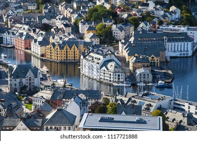 City Centre of Alesund from the Fjellstua Viewpoint on top of the mount Aksla, More og Romsdal, Norway.