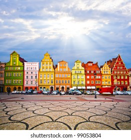 City centre, Solny Square tenements (rynek) , Wroclaw Poland