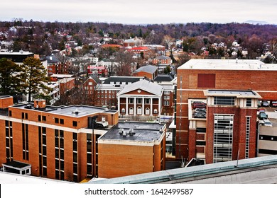 City of Charlottesville, Virginia looking down from above.