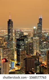 City of Chicago. Aerial view of Chicago downtown at night