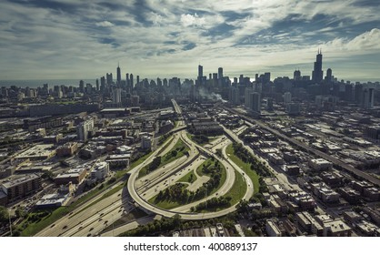 City of Chicago aerial view with streets leading to Downtown