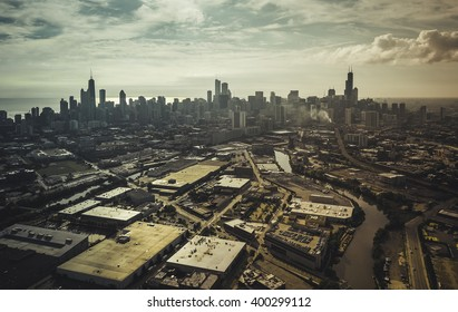 City of Chicago aerial view, vintage colors