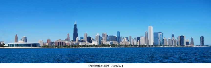 City of Chicago against blue sky