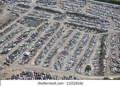 The City of Chicago impound lot for vehicles on a cloudy day.