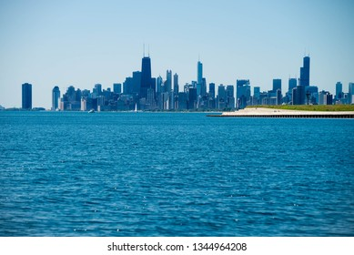 City of Chicago at lake Michigan in USA