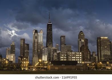 City of Chicago skyline at dusk