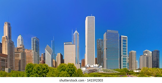 City of Chicago USA, panorama of downtown buildings on a beautiful summer day  with blue sky