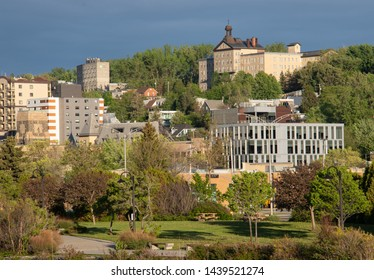 the city of Chicoutimi Quebec on the Saguenay River in the evening