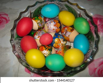 City Of Chita. Zabaikalsky Krai. Russia 04.05.2016.Beautiful Easter eggs lie in the bowl. Eggs for Easter is one of the main symbols of the holiday.