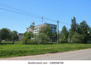 City Chudovo, Novgorod region, Russia. 05.21.2018: Building of the former match factory. Production is ruined. Areas are rented.