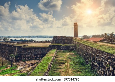 City clock tower in the town of Galle in Sri Lanka. Galle - the largest city and port in the south of Sri Lanka, the capital of the southern province and a popular tourist destination