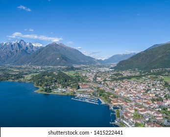 City of Colico and Valtellina valley. Aerial  photo