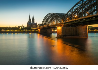 The city of Cologne at dusk