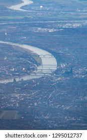 City of Cologne seen from airplane with the river Rhine and dome