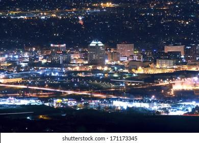 City of Colorado Springs Skyline at Night - Downtown Colorado Springs, Colorado, United States.