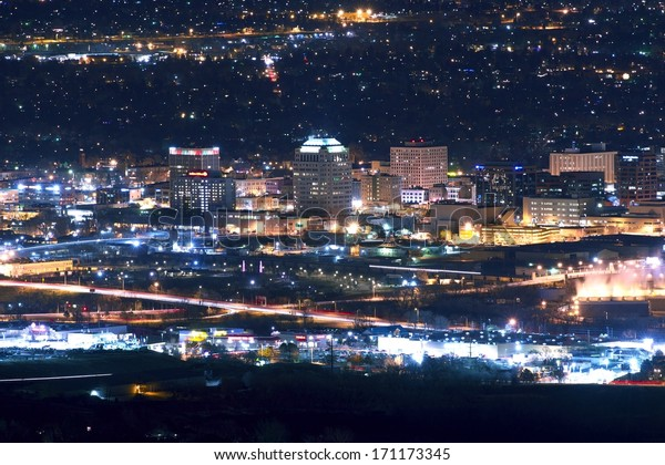 City of Colorado Springs Skyline at Night - Downtown Colorado Springs, Colorado, United States.