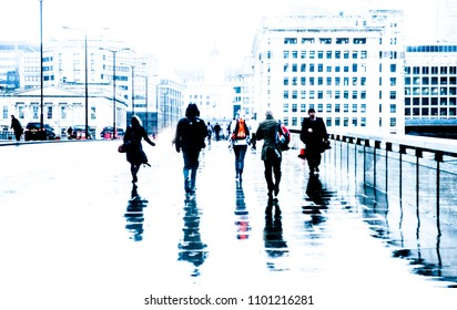 City commuters. High key blurred image of unrecognizable workers walking in London. Bleached effect. Concept for Londoners, modern life, management, corporate, future cities, business, migration
